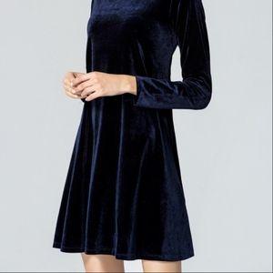 Vintage Blue Velvet Long Sleeve Body Con Dress